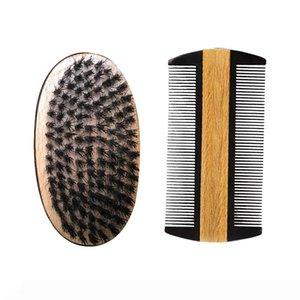 Barba bigote cepillo y un peine kit surtidor al por mayor, Styling Conformación de doble acción del sándalo peine de cerdas del cepillo de pelo de jabalí Dropshipping