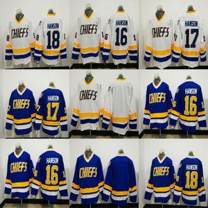 NHL Hanson Brothers Charlestown Chiefs 16 Jack Hanson 17 Steve 18 Jeff Hanson Slapshot film maglie bianco blu cucito Hockey su ghiaccio Maglie