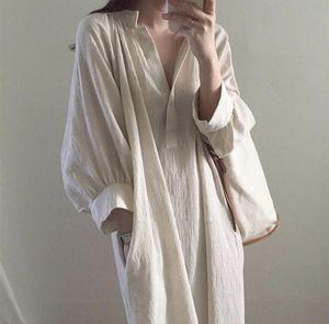 Uego Soft Cozy Cotton Linen Wrinkled Autumn Dress V-neck Vintage Shirt Long Dress Korean design Prairie Chic Women Casual