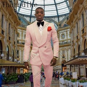 2019 Light Pink esmoquin de Paisley Trajes de boda para hombre Estilo británico a medida Traje para hombre Slim Fit Blazer (chaqueta + pantalón)