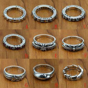 nuova 925 gioielli in argento antico stile vintage anelli a fascia di design fatte a mano in argento attraversa K5660