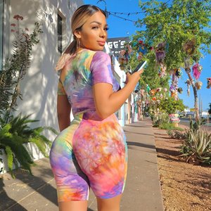 Women T-shirts tracksuits fashion summer colorful tie-dye woman casual loose two-piece sets Size S M L