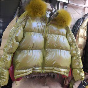 Вниз Одежда Женщины Короткие утка вниз Зимняя куртка Женская 2019 Новый блеск меха Большой меховой воротник пальто зимы Женский Nancylim