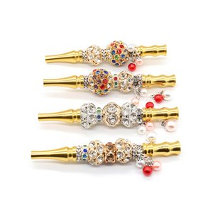 Woman Colorful Rhinestone Beaded Gold Cigarette Holder Circulating Filter Metal Smoking Pipes Tobacco Hookah Shisha Accessories YD0536
