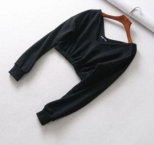 BKLD 2020 New Fashion Sexy V Neck Women Autumn Crop Hoodies Long Sleeve Off Shoulder Streetwear Female Pullovers Sweatshirts