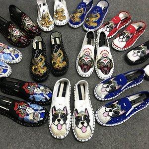 Yeni Kadın Erkek Ayakkabı Kişilik Milliyet Tasarımcı Rahat Nakış Tuval Doug ayakkabı Gommino Tembel kişi Karikatür Bayan Erkek Sneakers