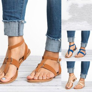 Sandalias de punta abierta Metal Hebilla Roma Moda Flattie Marrón Beige Azul Suave Cómodo Simple Zapatos Planos Venta Caliente 27sl D1