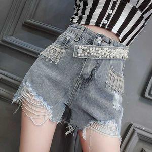 Korean Summer New Denim High Waist Heavy Industry Diamond Bleading Tassel Hole Jeans Shorts Women Fashion Streetwear 2020