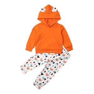 2Pcs Toddler Baby Boy Girl Cotton Clothes Long Sleeve Hooded Tops Sweatshirt+Printed Long Pants Outfits Autumn Children Clothing