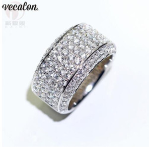Vecalon Luxury male Promise ring 925 Silver Micro pave 5A Cz Engagement Wedding band rings For men Finger Jewelry