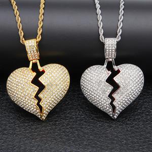 Hip hop Broken Love Heart collares Hombre s Bling Crystal colgante helado Oro plata trenzado y cadena de tenis para las mujeres Joyería de rapero