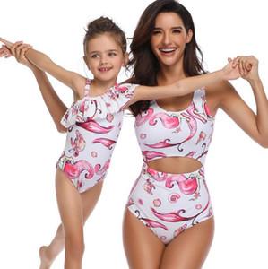 Swim desgaste Mermaid 2020 uma peça de cintura alta de flash mãe sexy impressão criança pai filha yakuda elegantes flexível Leopard Print biquíni conjuntos