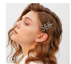Rhinestone de lujo de cristal Carta SEX las horquillas de las mujeres ZA elegante de la joyería pinzas de pelo de las muchachas largas de Headwear de la perla de las horquillas