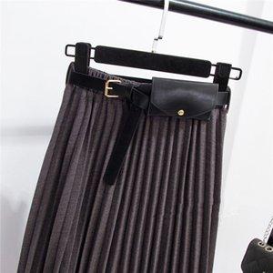 LANMREM 2020 Match Waist Pack Organ A-line Large Swing Skirt Winter New Women's Long Solid Color Pleated Skirt PB435