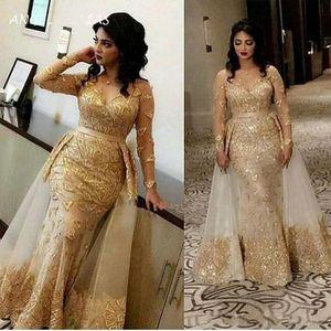 2020 Glitter ouro vestidos de noite árabe Sheer mangas compridas Lace Mermaid Prom Dresses V Neck Tulle Applique sobre saia formal do partido Vestidos