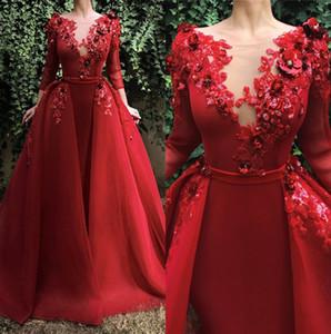 2019 Red elegante scollo pizzo vestiti da sera delle lunghe maniche di Applique 3D floreale Piano Lunghezza sera Prom Gowns Con su gonna