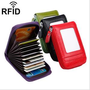 Genuine Leather Credit Card Holder Case RFID Blocking 9 Card Slots Coin Zipper Pocket Bag Bifold Women Men Wallet Gift