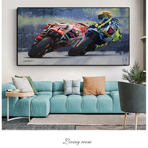 Watercolor Oil Prints Valentino Rossies Poster Motorcycle Canvas Painting Wall Art Decorative Picture For Living Room Home Decor