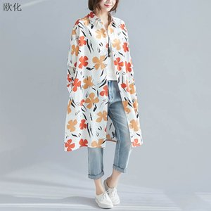 2020 New Spring Blouse Women Plus Size Womens Tops And Blouses Long Sleeve Summer Beach Style Print Floral Button Cardigan Shirt