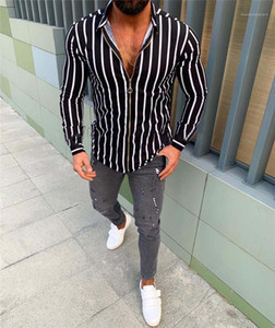 Casual Shirts Lapel Neck Zipper Straight Male Tshirts Long Sleeve Fashion Homme Tops Spring Mens Striped