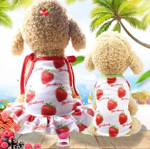 Pet primavera roupa do cão casal desgaste e saia de verão colete de malha respirável pés pet roupas beira-mar fresco morango saia bonito colete roupas