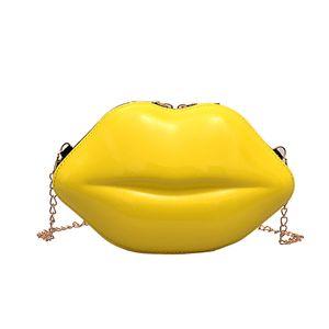 Lèvres sexy Fashion Style Pu Ladies Day Sac d'embrayage chaîne bourse sac à main Femme Mini bandoulière Messenger Bag 180G