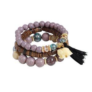 1 Set Stret Acrylic Beaded Bohemian Lady Bracelet Bangle Purple Suaders fast ship enough stock dropping wh الجملة