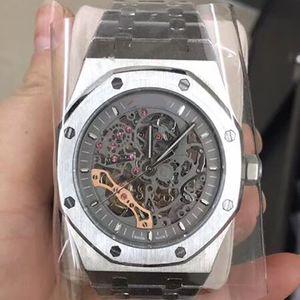 2019 новые мужские часы серебряный скелет механический широкий механизм 42 мм сапфировое стекло браслет из нержавеющей стали наручные часы