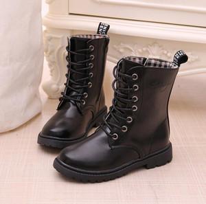 Ragazzi / Lace-up Stivali 2019 autunno inverno impermeabile Cavaliere Stivali singolo Warm bambini più grandi Snow Boots bambini Sneakers S200107