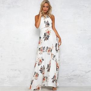 Baskılı Elbise Yüksek Bel Elbise Ayrılma Ladies Open Geri Bohemian elbise Yaz Halter Flora