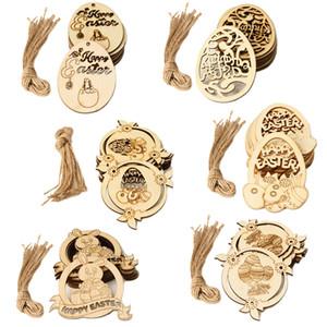 Ahşap Hollow Mutlu Paskalya Tavşan Yumurta Dekorasyon Ev Kolye Süsler Tavşan Ahşap El Sanatları Easter JK2002 Malzemeleri