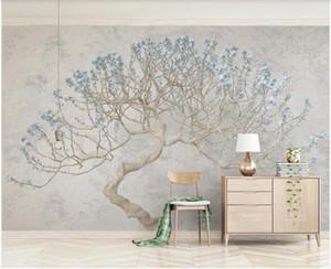 WDBH fond d'écran photo 3D personnalisée murale branche floraison d'un décor à la maison d'arbre en fleurs vivant papier peint de la pièce pour les murs 3 d