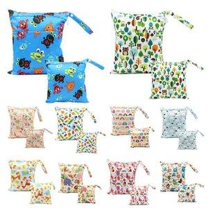 Waterproof Reusable Baby Cloth Diaper Bags Travel Wet Dry Nappy Bags Zipper 2PCS