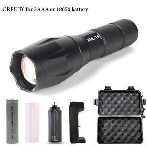 CREE XML T6 FLASHLIGHTS включенной батареи коробка подарка высокого качества телескопического зум-объектива фонарик факел портативных открытые тактические факелов горячих