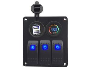 Panel de interruptores, Panel de interruptores basculantes a prueba de agua de 3 bandas con voltímetro digital DC 12V / 3.1A Interruptores dobles USB para vehículos náuticos RV