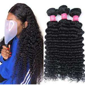 Bundles brésiliens de cheveux humains de vague profonde de la catégorie 8A 100% non transformés brésiliens de la vague profonde 4 faisceaux tressés brésiliens de cheveux