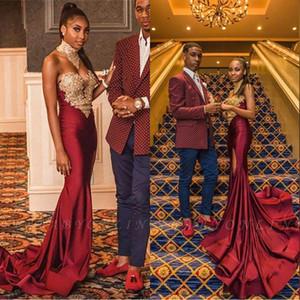 2020 Yeni Burgonya Sweetheart Denizkızı Balo Dresse Altın Dantel Aplikler Seksi Yan Bölünmüş Afrika Abiye Giyim vestidos de Fiesta BC2708