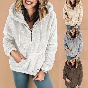 Frauen Sherpa VliesHoodie Hoodies Sweatshirt Langarm Zipper Outwear Tasche Hoodies Plüsch stehen LJJA3116 Kragenmantel Pullover