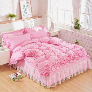 Nuova Bedding Set principessa Bow Ruffle Duvet Cover Bedding Wedding Pink Girl Culla Gonna Quilt Cover imposta biancheria da letto doppie
