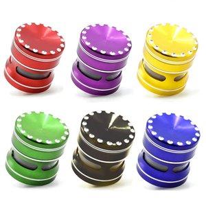 1PC metallo Grinder Bella coperchio concavo Herb Grinders Con Concavo Dots 63 millimetri 2,5 pollici di diametro con finestra trasparente 6 colori
