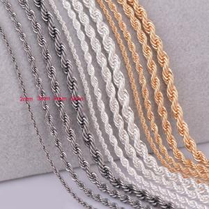 1 шт серебро золото Gunmetal черный Веревка цепи ожерелье для женщин Мужчины personalzied длиной 2 мм 3 мм 4 мм 5 мм