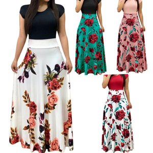 Nouveau Femmes Robe À Manches Courtes O Cou Patchwork Femmes Robes Floral Imprimé Drapé Vestidos Femme Long Maxi Dress Casual Robe