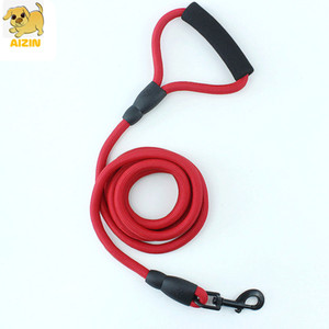 New Strong Thick Dog Nylon Leashes Soft Comfortable Handle Rainbow Color For Small Medium Large Dog Pitbull Leads Pets Supplier