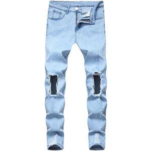 Jeans Hommes Fashion Light Blue Hole Jeans Denim Ripped Distressed Slim Pantalons Crayon Pantelons Top qualité