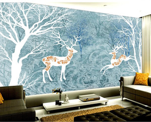 2019 Пользовательские фото 3d обои Абстрактный лес Deer Классический Гостиная Спальня фона украшения стены Mural Обои