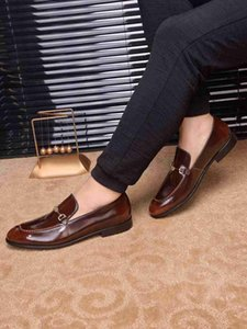 Men Dress Shoes Cow Leather Buckle Strap Office Business Wedding Handmade Mixed Color Brogue Formal Pointed Toe Oxfords wan2