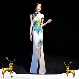 High Quality Embroidery Peacock Women Chinese Prom Dress Cheongsam Sexy Appliques Flower Formal Party Gown Mandarin Collar Qipao