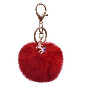 Красочные Unicorn брелок Pompom Мстители Key Chain ювелирных Fur Ball Key Chain Пушистый Pom Pom брелоков для женщин автомобиля сумка брелок