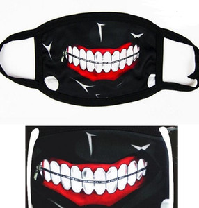 Party Anime Horror Zipper Zähne Maske Adult Teen Fun Abendkleid Lower Half Face Mouth Muffel Maske wiederverwendbare Staubwinddichtes Cotton Mask Warm