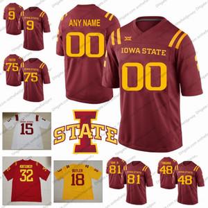 Özel Iowa Eyalet Siklonlar Futbol Forması Herhangi Bir Numara Numarası 9 Joseph Scates 75 Sean Foster 81 Sean Shaw Jr. 48 Kamilo Tongamoa S-4XL